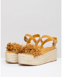 Pull&Bear Flatform Espadrille With Tassle Front In Yellow