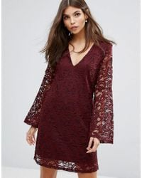 AX Paris - Red Lace Dress With Fluted Sleeves - Lyst