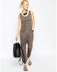 ASOS - Brown Minimal Jersey Jumpsuit In Space Dye - Lyst