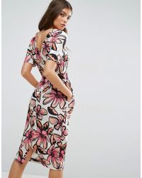 ASOS - Multicolor Midi Wiggle Dress In Graphic Floral Print - Lyst