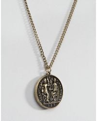 ASOS - Metallic Coin Necklace In Burnished Gold for Men - Lyst