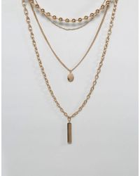 ALDO - Metallic Multi Row Necklace In Gold - Lyst