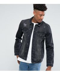 06fa9eafa2591 ASOS Tall Denim Jacket In Black Wash With Rips in Black for Men - Lyst