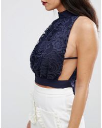Love - Blue High Neck Lace Top - Lyst