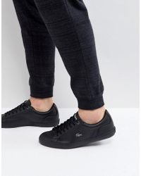 0182d5464 Lacoste Lerond 317 Triple Black Leather Trainers in Black for Men - Lyst