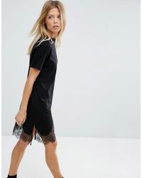 ASOS - Black T-shirt Dress With Lace Inserts - Lyst