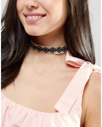 ASOS - Brown Raffia Flower Choker Necklace - Lyst