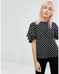 New Look | Black Spot Waisted Shell Top | Lyst
