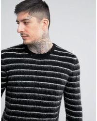 ASOS - Black Mohair Wool Blend Sweater With Contrast Stripes In Monochrome for Men - Lyst