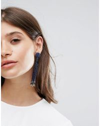 Pieces - Metallic Beaded Drop Tassle Earrings - Lyst