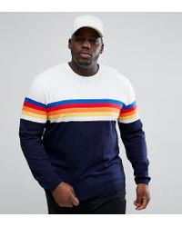 ASOS - Blue Asos Plus Jumper With Multicoloured Stripes In Navy And White for Men - Lyst