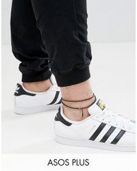 ASOS DESIGN - Black Plus Leather Anklet With Feather for Men - Lyst