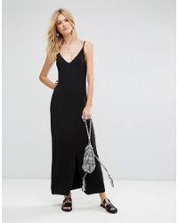 ASOS - Black Maxi Dress With V Back - Lyst