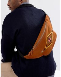 ASOS   Brown Fanny Pack With Embroidered Geo- Design In Faux Suede for Men   Lyst