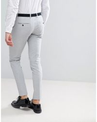 SELECTED - Gray Skinny Smart Trousers for Men - Lyst