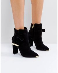 8eea0a6ec Lyst - Ted Baker Sailly Tie Up Black Suede Heeled Ankle Boots in Black