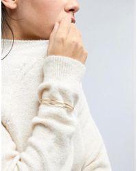 ASOS - Metallic Sleek Flat Face Double Row Cuff Bracelet - Lyst