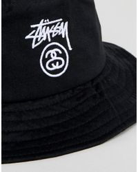 54834c3335a Lyst - Stussy Bucket Hat With Link Logo in Black for Men