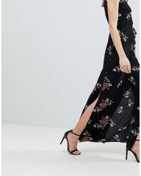 AX Paris - Black Floral Maxi Dress - Lyst