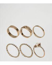 ASOS | Metallic Pack Of 6 Moonstone Festival Ring Pack | Lyst