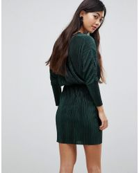 ASOS - Green Batwing V-neck Plisse Mini Dress - Lyst