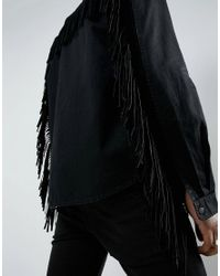 ASOS - Black Festival Overshirt In Denim With Studding And Fringing for Men - Lyst
