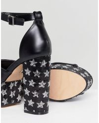 Lost Ink - Black Binx Platform Star Sandals - Lyst