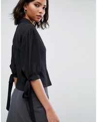 ASOS - Black Waisted Puff Sleeve Shirt - Lyst
