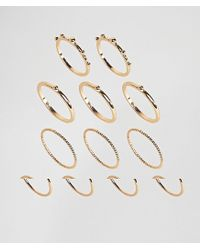 ASOS - Metallic Pack Of 12 Ball And Faceted Rings - Lyst