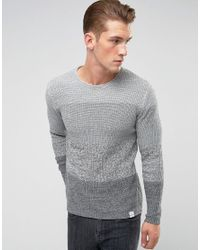 Only & Sons - Gray Knitted Sweater With Mixed Stripe Detail for Men - Lyst