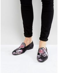 ASOS - Loafers In Black Satin With Rose And Skull Print - Lyst