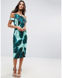 ASOS - Green Palm Leaf Hitchcock Midi Pencil Dress - Lyst