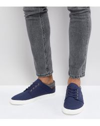 ASOS - Blue Wide Fit Lace Up Plimsolls In Navy Faux Suede With Warm Handle Cuff for Men - Lyst