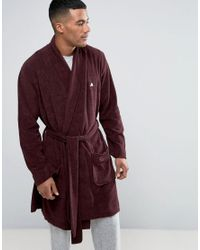 ASOS - Red Shawl Neck Towelling Robe With Logo for Men - Lyst