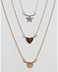 ASOS - Multicolor Asos Pack Of 3 Ditsy Pendant Necklaces - Lyst