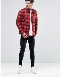Another Influence - Red Quilted Shirt Jacket for Men - Lyst