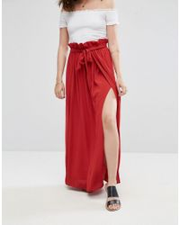 ASOS - Brown Maxi Skirt With Belt And Thigh Split - Lyst