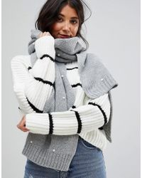 Pieces - Gray Pom Pom Detail Knitted Scarf - Lyst
