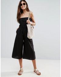ASOS - Black Bandeau Jumpsuit In Cotton - Lyst