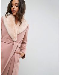 ASOS DESIGN - Pink Midi Skater Coat With Luxe Faux Fur Trim - Lyst