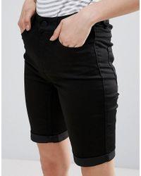 Pieces | Black Jute Denim Long Shorts | Lyst