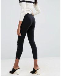 ASOS - Black Velvet Leggings With Elastic Slim Waist - Lyst