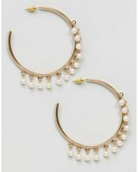 ASOS - Metallic Faux Pearl Hoop Earrings - Lyst