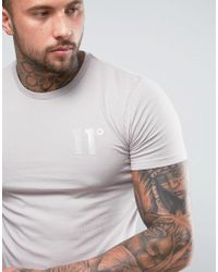 11 Degrees - Natural Logo T-shirt In Stone for Men - Lyst
