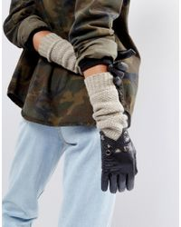 Barney's Originals - Black Barneys Long Line Leather Gloves With Knit Mix And Cross Over Detail - Lyst