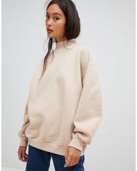 Bershka High Neck Oversized Sweater In Camel in Natural - Lyst e2afc276e