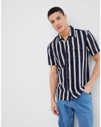 49dcc81ed5 Bellfield Short Sleeve Shirt With Vertical Stripe in Blue for Men - Lyst