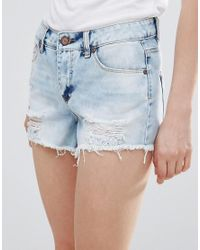 Pieces - Blue Thilde Denim Ripped Shorts - Lyst