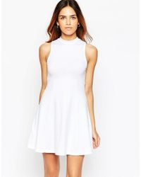 ASOS - White High Neck Empire Dress - Lyst