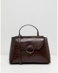 ASOS - Brown Croc City Bag With Ring Ball Detail - Lyst